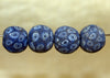 Four Large Vintage Blue Glass Beads from Indonesia; Lou Zeldis Component Collection