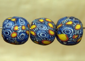 Three Funky Vintage 60s Glass Beads from Indonesia; Lou Zeldis Component Collection