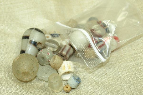 Bag 'O Beads, White/beige African Trade Mix