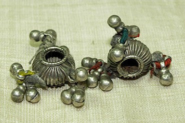 Pair of Old Silver Fluted Beads from India