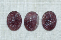 Vintage Glass Cabochons, Japanese Floral Amethyst
