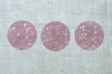 Vintage Glass Cabochons, Round Pink Floral