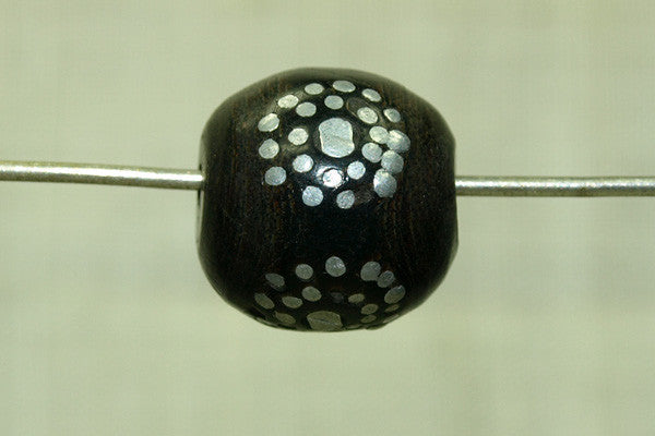 Black Coral Beads with Silver Inlay