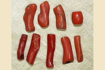 Set of 9 Antique Red Coral Beads