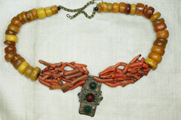 Rare Moroccan Amber, Coral, and Silver Necklace