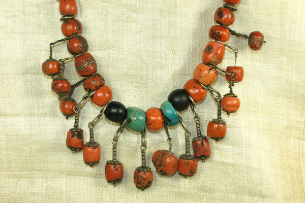 Old Berber Red Coral Necklace