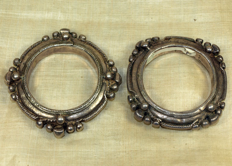 Heavy Pair of Silver Bangles from India