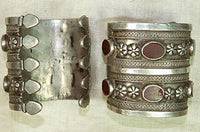 Turkman Silver Cuffs With Carnelian Stones, pair