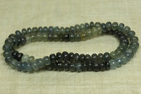 Color-Graduated Strand of Smooth Moss Aquamarine Rondelles