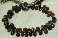 Strand of Red and Grey Labradorite Tear Drops