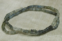 Color-Graduated Strand of Tiny, Faceted Moss Aquamarine Rondelles