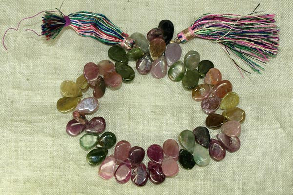 Multi-Color Tourmaline teardrop beads