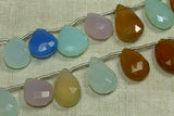 Mixed Gemstone Strand - Flat, Faceted Tear Drops