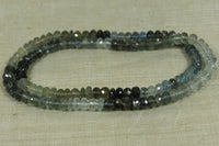 Color-Graduated Strand of Faceted Moss Aquamarine Rondelles