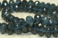 Stunning Graduated Strand of Deep Blue Moss Aquamarine Rondelles