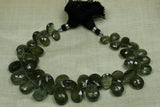 Gorgeous Strand of Moss Aquamarine Flat Tear Drop Briolettes