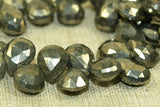 Strand of small, flat Pyrite teadrop briolettes