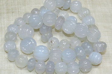 Carved Chalcedony Beads