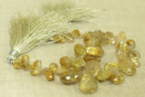 Yellow Rutilated Quartz Teardrops gemstone beads