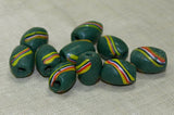 Venetian Green Striped Swirl Bead