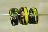Set of three Funky Fat Eja beads