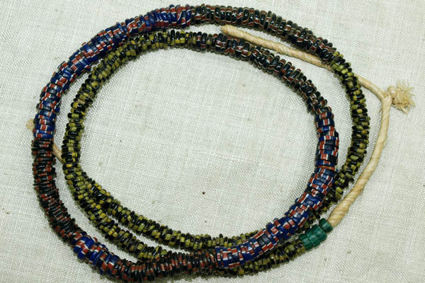 Small, Mixed Eja beads - Blue and Red, Black and Yellow, Green