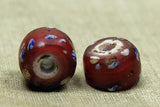 Fancy Flower Red Venetian white heart Bead