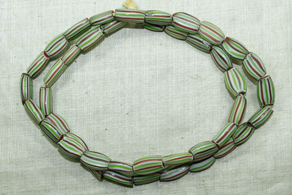Venetian Watermelon Glass Beads, Red, Green, White