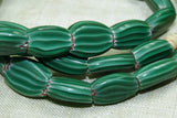 Venetian Watermelon Glass Beads, Bright Green Flattened Ovals