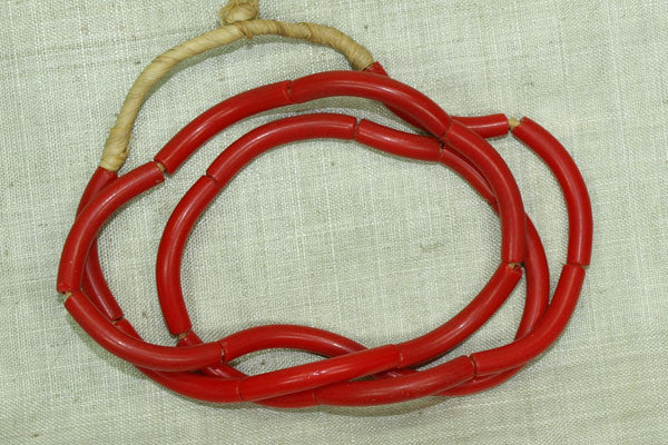 """Elbow"" Glass Beads, Light Red Strand"