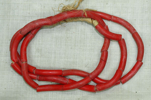 "Red ""Elbow"" Glass Beads"