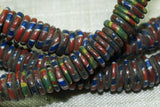 Eja/Aja Beads, Strand of Small Red and Blue Striped Discs