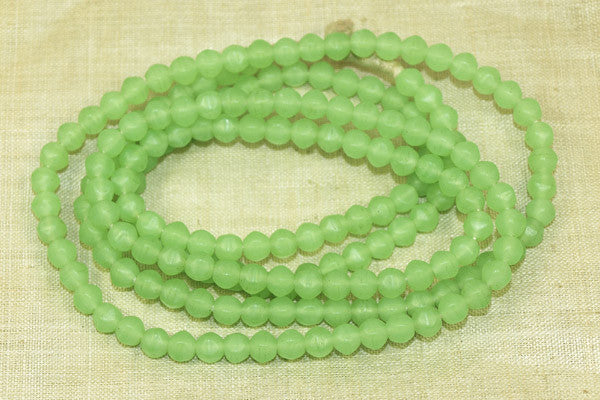 Small 5mm Antique Seafoam Vaseline Beads