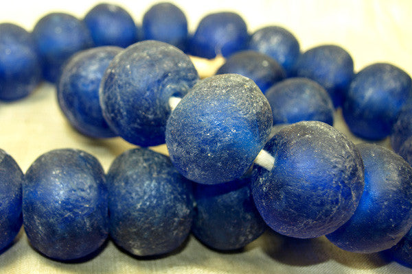 ginormous Blue Glass Beads from Ghana