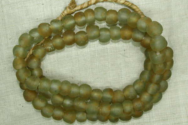 Olive Glass Beads from Ghana