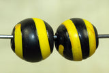 Pair of Black Glass Bead with Yellow stripe