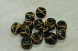 Antique Black and Yellow Venetian Glass Beads