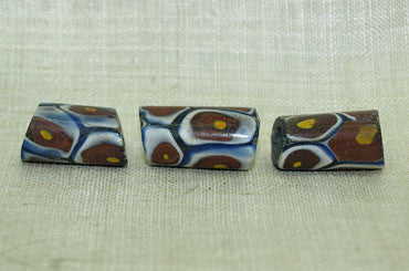 Brick Red & White Striped Millefiori Bead