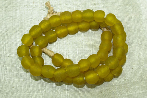 Yellow Color Matte Glass Beads