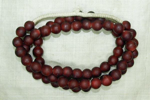 Antique Cranberry White Heart Beads