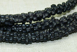 Black Four Petal Czech Flower Beads