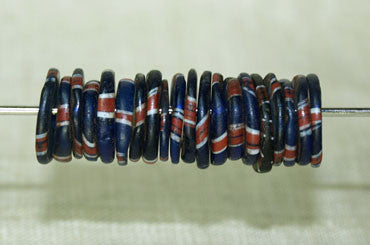 Bag of Antique Eja Beads, Blue with Stripes