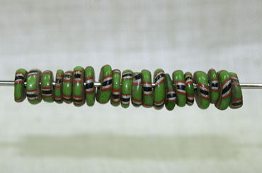 Bag of Antique Eja Beads, Green with Stripes