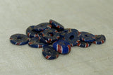 Bag of Antique Eja Beads, Small Blue with Stripes