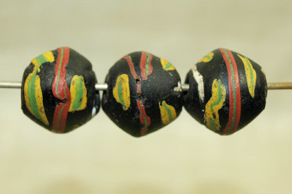 Black King Beads with Yellow & Green