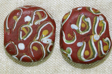 "Brick Red Tabular Bead with ""Eyes"""