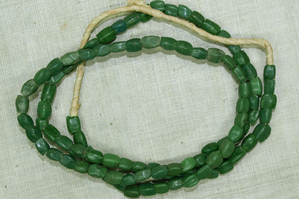 Funky 4-Sided Green Glass Beads from 1700s