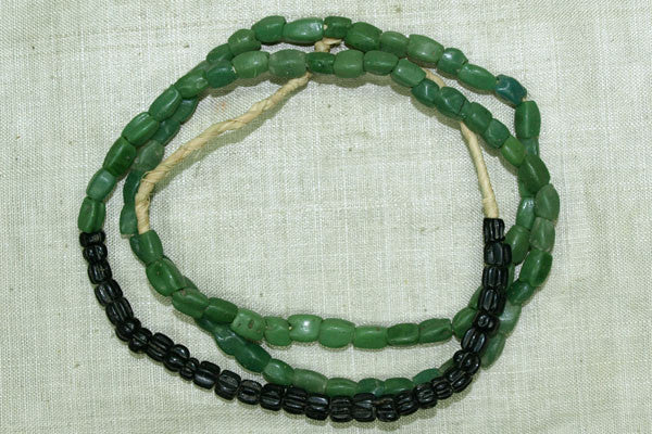 Funky 4-Sided Green Glass Beads with some Black Glass Beads from 1700s