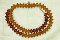 Excellent Amber & Cranberry Glass Vaseline Beads