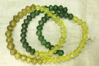 Strand of Jonquil and Green Antique Vaseline Beads